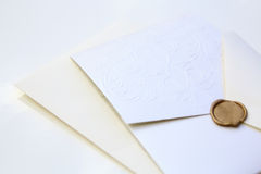 Decorative wedding invite isolated. Over a white background Royalty Free Stock Image