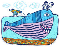 Decorative whale and little fish. Large decorative whale swimming and smiling. The little fish jumping over it. Clouds float across the sky Stock Photo