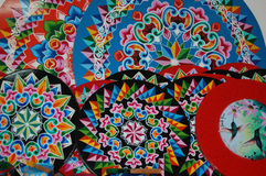 Decorative wheels. Hand paint ox wheels from Costa Rica royalty free stock images
