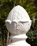 Decorative White Concrete Pineapple Fence Post in Sunlight Stock Photography
