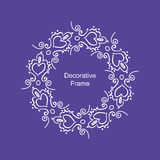 Decorative white frame with hearts on purple background Stock Photos