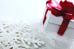 Decorative white gift box with a red bow a Stock Photo