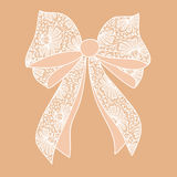 Decorative white lacy bow Royalty Free Stock Images