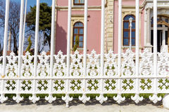 Decorative white metal fence Stock Image