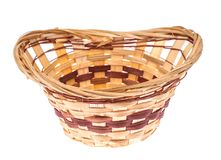Decorative wicker basket handmade on white background royalty free stock photos