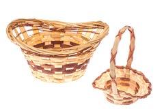 Decorative wicker basket handmade on white background stock image