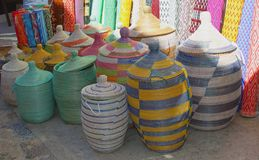 Decorative wicker baskets and souvenirs for sale at Mallorca, Spain Stock Images
