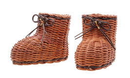 Decorative wicker boots. Isolated on white Stock Photography