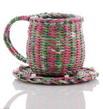 Decorative wicker cup isolate Stock Images