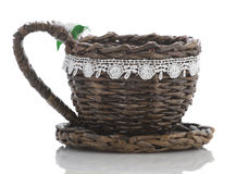 Decorative wicker cup white background isolate Stock Images
