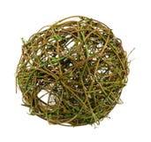 Decor wicker wooden round balls isolated white Stock Image