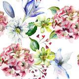 Decorative wild flowers. Floral seamless pattern with flowers,watercolourillustration Stock Image