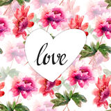 Decorative wild flowers with heart and title LOVE Royalty Free Stock Images