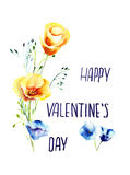 Decorative wild flowers with title happy valentine's day Royalty Free Stock Photos