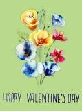 Decorative wild flowers with title happy valentine's day Stock Photos
