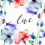 Decorative wild flowers with title love Royalty Free Stock Images