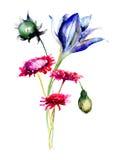 Decorative wild flowers Royalty Free Stock Photo