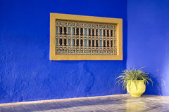 Decorative window on blue Stock Photo
