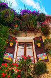 Decorative window in the old town of Antibes, France Stock Image