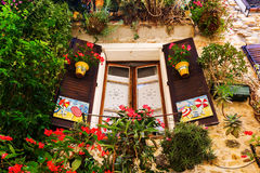 Decorative window in the old town of Antibes, France Royalty Free Stock Photos