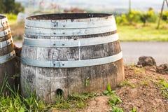 Decorative Wine Barrel at Vineyard. Wood and metal wine barrel at a vineyard in Oregon, USA royalty free stock images