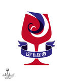 Decorative winery emblem – stylized goblet with wavy ribbon. E Royalty Free Stock Image