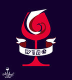 Decorative winery emblem – stylized goblet with wavy ribbon. E Stock Photos