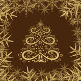 Decorative winter background with Christmas tree Stock Photo