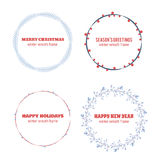 Decorative winter circle wreath collection Royalty Free Stock Photos