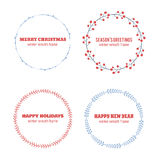 Decorative winter circle wreath collection Stock Photography