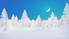 Decorative winter landscape with snowy fir trees Stock Images