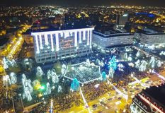 Decorative winter lights in Ploiesti, Romania. Aerial night view with the moment when the decorative winter lights were turned on in Ploiesti , Romania, December royalty free stock photos