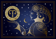 Decorative woman with the sign of the zodiac 3 Stock Photography