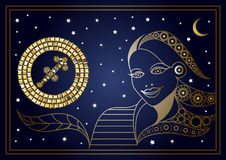 Decorative woman with the sign of the zodiac 12. Decorative zodiac sign Sagittarius. Horoscope and astrology astronomy-symbol. Vector illustration vector illustration
