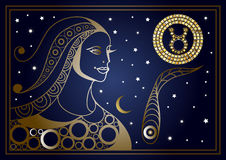 Decorative woman with the sign of the zodiac 7 Royalty Free Stock Image