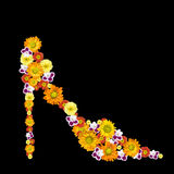 Decorative womans shoe from color flowers Royalty Free Stock Photography