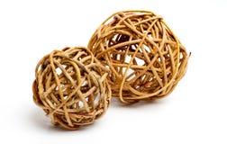 Decorative Wood Balls Isolated. Two decorative wood balls isolated on white Royalty Free Stock Photos