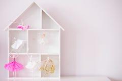 Decorative wood house shelf Royalty Free Stock Images