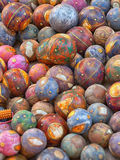 Decorative wooden balls. Traditional decoration for the Indian h Stock Photo