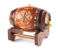 Decorative wooden barrel. Decorative small wooden barrel with handcrafted carvings Stock Images