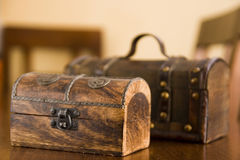 Decorative wooden boxes. Details of old, wooden storage or jewelery boxes Stock Photo