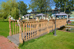 The decorative wooden bridge in the territory of the center of r Royalty Free Stock Photos