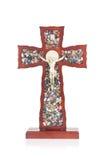Decorative wooden Catholic Christian Crucifix with isolated whit Stock Image