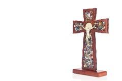 Decorative wooden Catholic Christian Crucifix with isolated whit Stock Photography