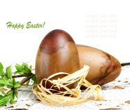 Decorative wooden Easter egg Stock Images