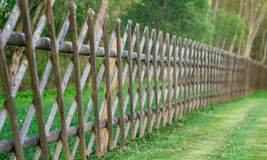 Decorative wooden fence with green lawn and trees Royalty Free Stock Photo