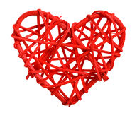 Decorative wooden heart in red Stock Image