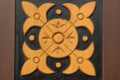 Decorative Wooden Panel With Abstract Woodcarving Ornament Royalty Free Stock Photos