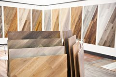 Decorative wooden panels in store. Decorative wooden panels for walls and floor in the store Stock Photo