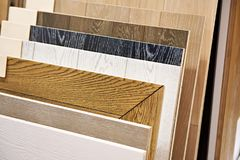 Decorative wooden panels for walls and floor. In the store Stock Images